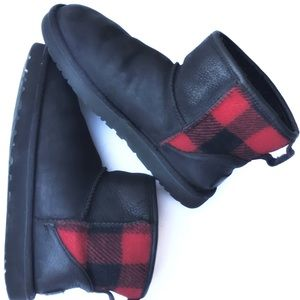 UGG ankle shearling boots Buffalo plaid GUC 7/38